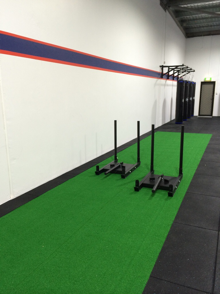 Gym Flooring Artificial Turf Sled Track Installation
